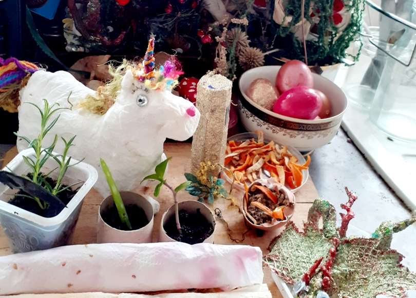 Unicorn, tower, decorated eggs, natural toiletries and seed paper